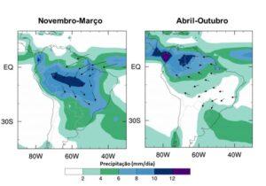 Precipitação climatológica (mm/dia) na América do Sul. Fonte: Tempo/Meteored (dados do GPCP)