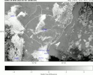 Diferença de temperatura de brilho (GOES-16) e estações de superfície consideradas no estudo.