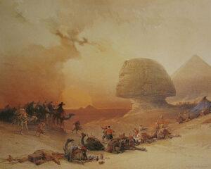 """O Simum sobre o Deserto"", pintura de David Roberts (1838). Fonte: Wikipedia"