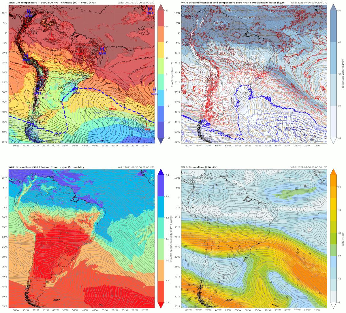 Mapas de superfície, 850, 500 e 250 hPa das variáveis e data/hora indicadas