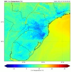 Temperatura a 2 metros de altura do solo em região recortada