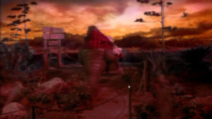 """Cena do episódio """"O dia do arremesso"""" da família Dinossauros"""