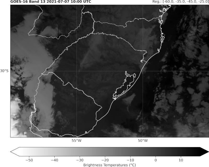 Imagem do canal 13 (GOES 16) sobre parte da América do Sul - ocorrência de nevoeiro sobre região centro-oeste e noroeste do Rio Grande do Sul.