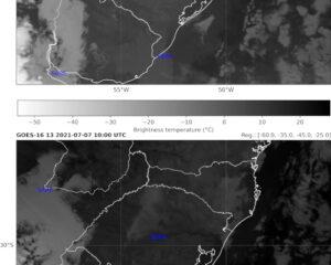 Imagens dos canais 7 e 13 (GOES-16) com pontos de observação em superfície considerados.