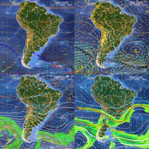 Análise sinótica próxima ao horário do estudo de caso: superfície, 850 (acima), 500 e 250 hPa (abaixo). Fonte: CPTEC/INPE