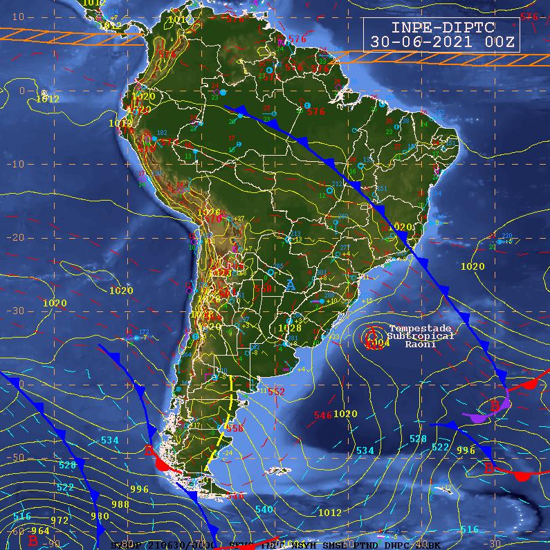 Carta sinótica exibindo frente fria no final de seu avanço de sul para norte no Brasil e tempestade subtropical Raoni. Fonte: CPTEC/INPE
