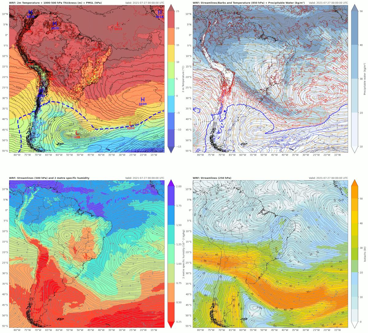 Mapas de superfície, 850, 500 e 250 hPa das variáveis e data/hora indicadas - condição inicial