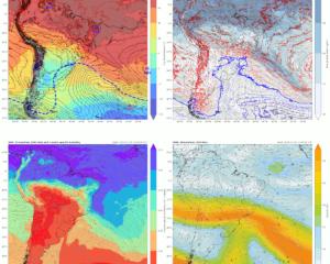 Mapas de superfície, 850, 500 e 250 hPa das variáveis e data/hora indicadas - evento de neve