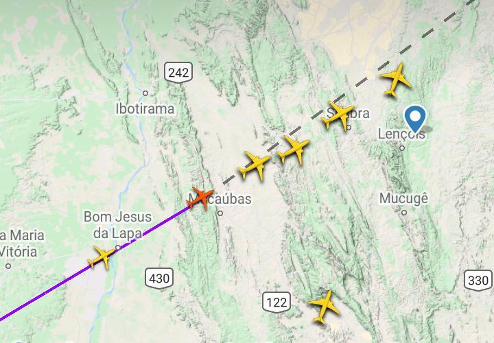Aviões em rota sobre a região de Bom Jesus da Lapa/BA. Fonte: Flight Radar 24