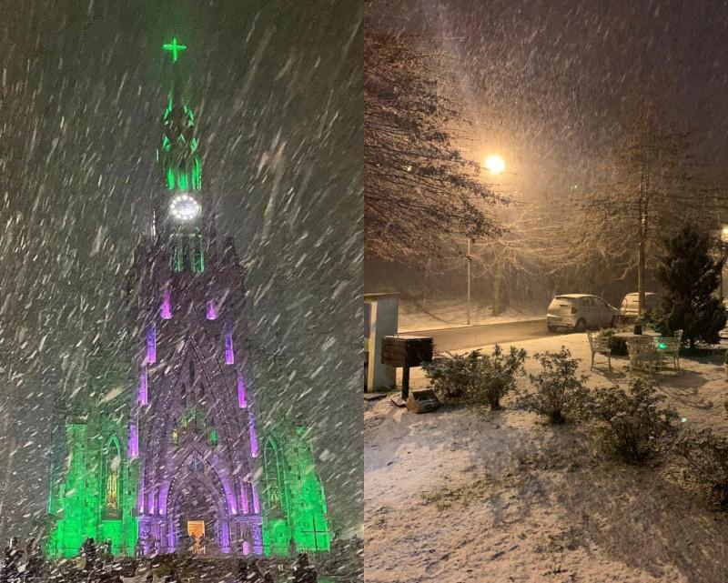 Neve em Canela e Gramado, RS. Fotos: André Fernandes/Prefeitura de Canela e Pablo Berger