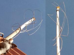 Antena montada vista de dois ângulos diferentes, utilizada para recepção dos sinais de satélites. Fotos: Evandro Batista Rodrigues Pereira