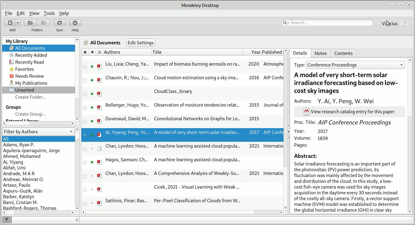 Tela do Mendeley Desktop