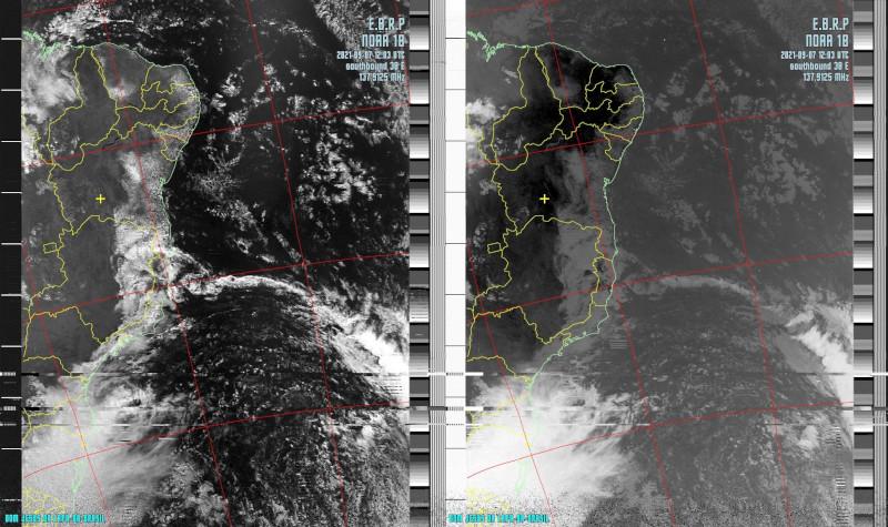 Imagens visível e infravermelho de uma passagem do satélite NOAA 18