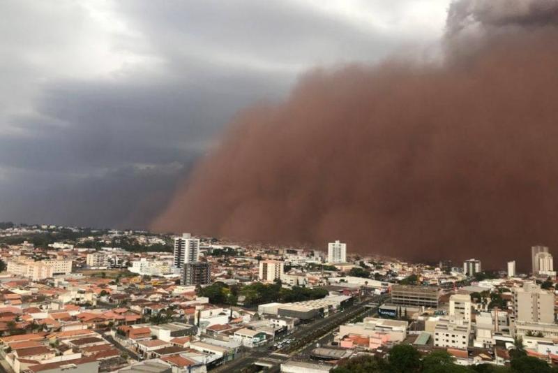 Tempestade de poeira/areia (habub) em Franca/SP em 26/09/2021. Fonte: Clima ao vivo