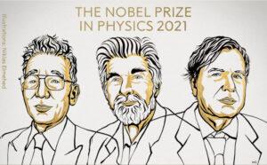 Syukuro Manabe, Klaus Hasselmann e Giorgio Parisi, ganhadores do Nobel de Física em 2021 (adaptado de Twitter/Nobel Prize)