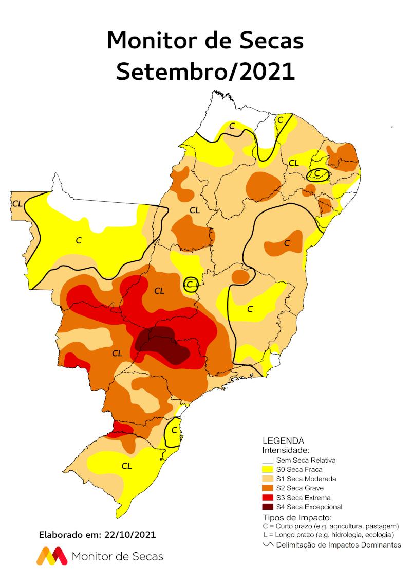 Mapa do monitor de secas. Fonte: ANA